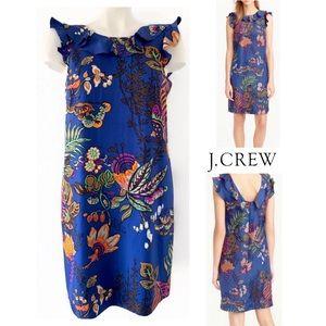 J.CREW SILK RUFFLE TROPICAL FLORAL DRESS SZ 2